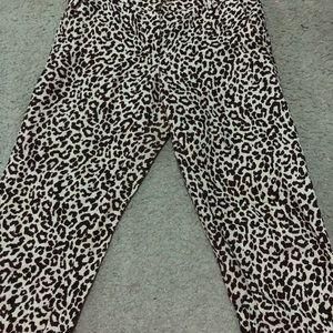 Jcrew linen leopard print ankle pants